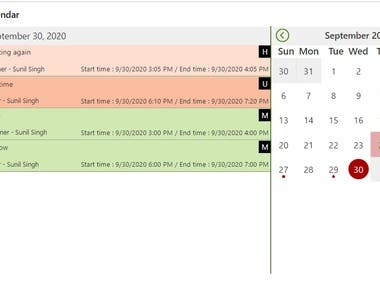 Custom PowerApps Calendar with indicator, Gets data from SharePoint list.