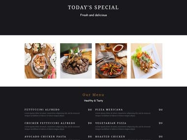 A eye-catching website design for restaurant.