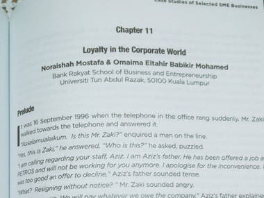 I was involved in writing Loyalty in the Corporate world case study for a local university in Malaysia.