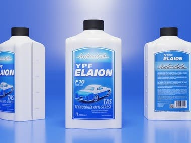 """Design, 3D modeling and renders of new motor oil container based in the old """"El Justicialista"""" argentinian sport car and prepared to be made by plastic extrusion."""
