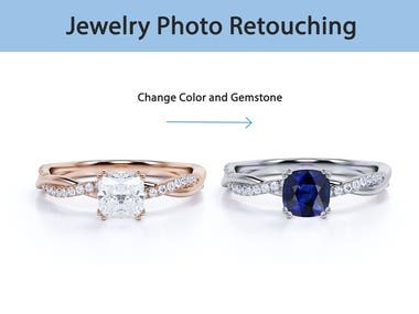 Retouching jewelry photos Removing dust Changing color to silver, gold, rose gold Changing gemstone