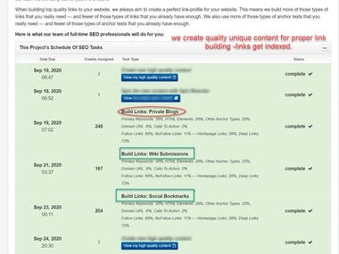 if you through a house in two weeks vs 2 months you can tell the differences in long term stability.      Each time you you renew your link building campaign it start over the exact same way..  For each of your websites we accurately determine:   *the most profitable keywords with fewest competitors to optimize   *The existing link-type profile: percentage of links from web 2.0 websites, public      directories, private blogs, blog comments, forum profiles, social  bookmarks,      video submissions, wiki submissions, other sources   *he existing link-anchor profile: percentage of links with different types of ancho   *the number of existing links and the current speed of link building:      this way we can  determine the optimal link building speed going forward    *the SEO improvements that can be done directly on your website: