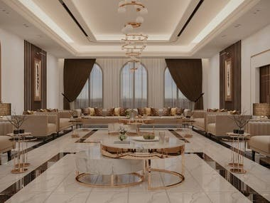 My interior design for Majlis in Oman (13m x 7m). Golden touches in a large hall can make the space feel luxurious and keep it elegant.