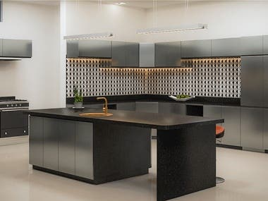 The minimalist design and modern hardware give these cabinets with a minimal amount of flat space a feeling of luxury.  The sleek, glossy black contrasts with the clean white walls and stainless steel finishes.