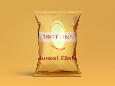 Packaging Design for Tosthins chips bag.  Three design versions of the product are available.