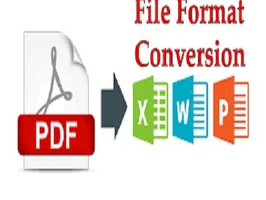 HELLO I will be Your Virtual Assistant I Can Convert PDF File to Word file & Excel to Note Pad ,Scan Image To PDF ,I Can Convert Any type of File & Documents With  Excellent Typing Speed Both Hindi & English  Typing 100 % Accurate and Clean Work and formatting  using deferent format as your required Extra fast delivery no Extra Changer .  You can hire me.  Thank you