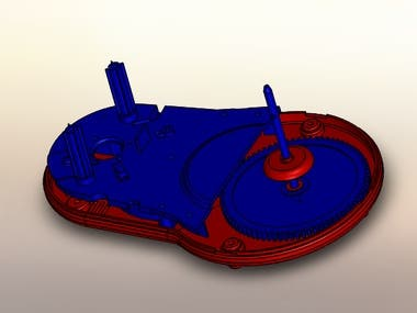3D design of a food processing item. Design  Visualized to separate parts according to the density.