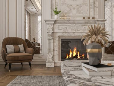 Interior design for men majles at villa in Dubai including 2d drawing, 3d modeling, and 3d rendering.