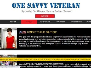 Created a website for Meosha Thomas founder of the non-profit organization One Savvy Veteran. Its purpose was to help female veterans transition from military life to civilian life to get the resource to get back on track.