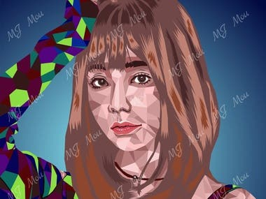 This Portrait is a polygon vector art. I have created it using pen tool in illustrator. If you need one for you Hire me.