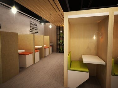 designing a friendly and quiet space for people to work independently on different projects, or in groups on the same projects. Designing for the employer from Saudi Arabia.