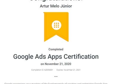Google recognizes your mastery of the fundamentals of creating and optimizing Google App campaigns.