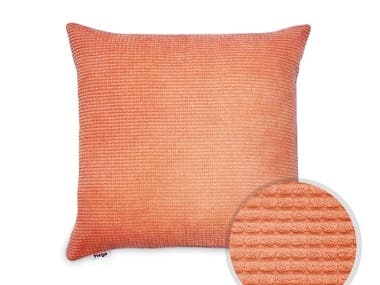 One of the examples of working with product photos. The main object is a decorative pillow. This work is done on a white background. The original photos of the main subject were taken against a neutral background with a regular smartphone camera by customer.  Also in this work there is an additional element - a detailed image of the material of the main object.