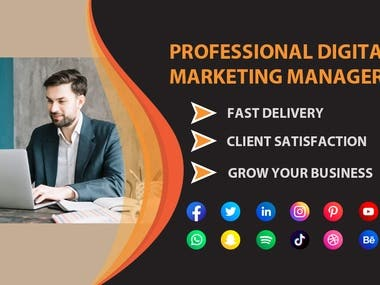 Hi there!  Welcome Mam/Sir, I am offering Professional Digital Marketing and Social Media Marketing Manager become your business. Are you looking for a Professional, Branded Media Marketer for your business or company then I am for you to provide Quality Work.  I have over 3 years of experience in Digital Marketing and Social Media Marketing. In this situation, you need a perfect Social Media Marketing Expert who can turn a Buyer into the Customer. The best Digital Marketing which can extend your Digital Business.  Marketing Strategy  Facebook Twitter YouTube Instagram Pinterest LinkedIn Reddit Tumblr  Digital Marketing Strategy  Boost SEO, SEM Web Traffic Social Media E-Commerce Local Listings Video, Content CPA & Affiliate Email Marketing Marketing Strategy Influencer & Product Surveys & Crowd Funding Web Research and Analysis Keyword & Domain Research  So here is my service list. Just knock me or make an order directly to start your business grow right now!  Thank Yo