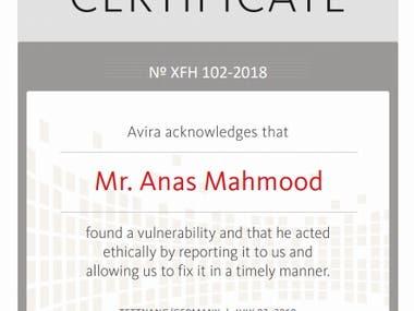 Certificate of Appreciation from Avira