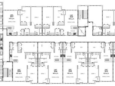 There are several AutoCAD 2D floor plan drawings derived from simple handmade sketch.