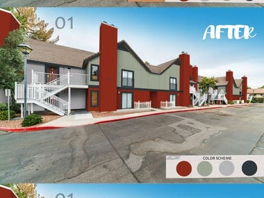 House paint and bricks cladding---  WINNER --------------- https://www.freelancer.com/contest/Exterior-Paint-colors-and-front-elevation-Looking-for-creativity-and-final-Shermin-Williams-colors-to-give-to-painters-starting-project-on-Nov-1844405
