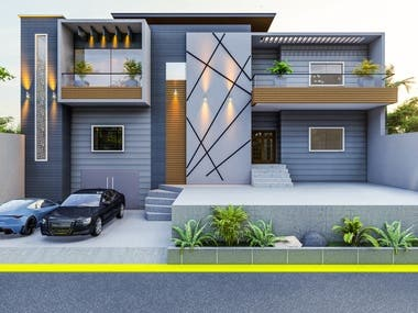 Modern front elevation of 1 kanal house.