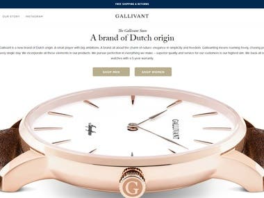 Gallivant Watches is a popular wrist watch brand from Europe. I have design & build this store on shopify from scratch. We have used Liquid, HTML, CSS & Jquery for this store.