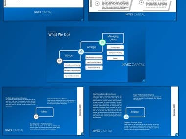 Power Point Template for Capital fund company , blue white color code are used