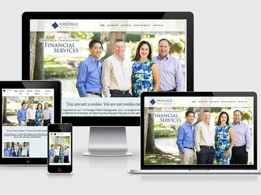 I was provided the PSD designs for the new website of Vantage Wealth Management LLC, a financial advisory firm by my client, a designer who had been hired by the company.  I converted the designs into a responsive cross-device site with scroll based animations etc. There was frequent communication with the client and revisions were quickly incorporated into the site.    http://www.vantagewealthmgmt.com  1. Fully responsive layout on a variety of devices. Bootstrap was used for the grid layout. 2. Scroll linked animations. 3. Modern CSS3 like Flexbox for layout and alignment. 4. Google Maps API integration. 5. Bootstrap based modal.