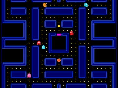 a Pacman game in which ghosts have an AI and with Custom map creation.