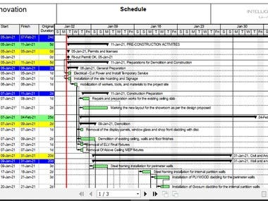 Link for the project: https://www.freelancer.com/projects/oracle-primavera/Project-Schedule-Primavera-For-Retail/reviews  The project consisted of creating a detailed schedule, using PRIMAVERA P6, for fit out works for a retail shop. It consisted mainly on doing the following tasks:  * Create the WBS * Define Activities. * Sequence Activities. * Estimate Activity Durations. * Develop Schedule. * Control Schedule. * Resources Estimation and allocation And all related steps to develop a professional and detailed Schedule using PRIMAVERA P6.