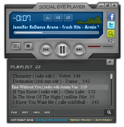 Social Music Player Music player, streaming audio content from multiple online platforms such as SoundClound, YouTube, Facebook. P2P - peer to peer player, able to share playlist with friends on internet or local area network.