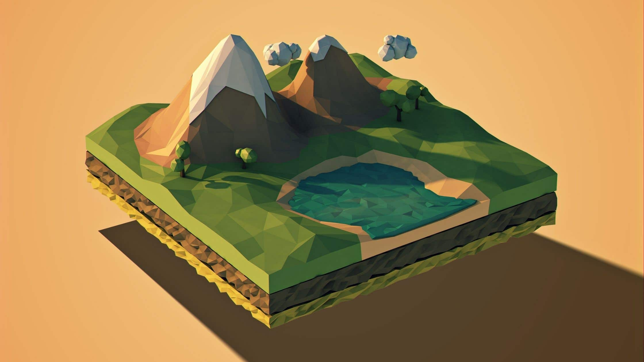 Mountains low poly art