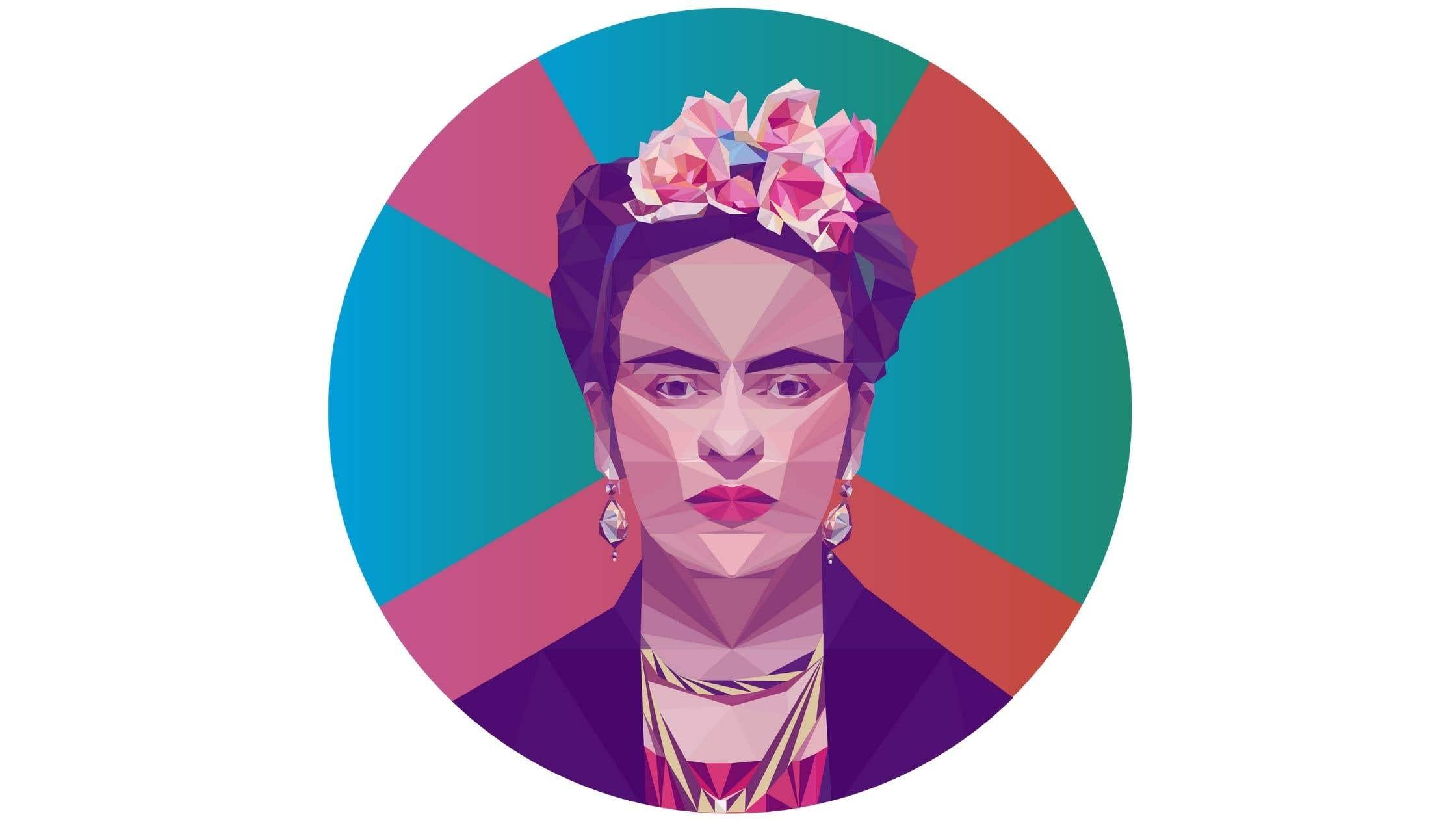 Frida Kahlo low poly art