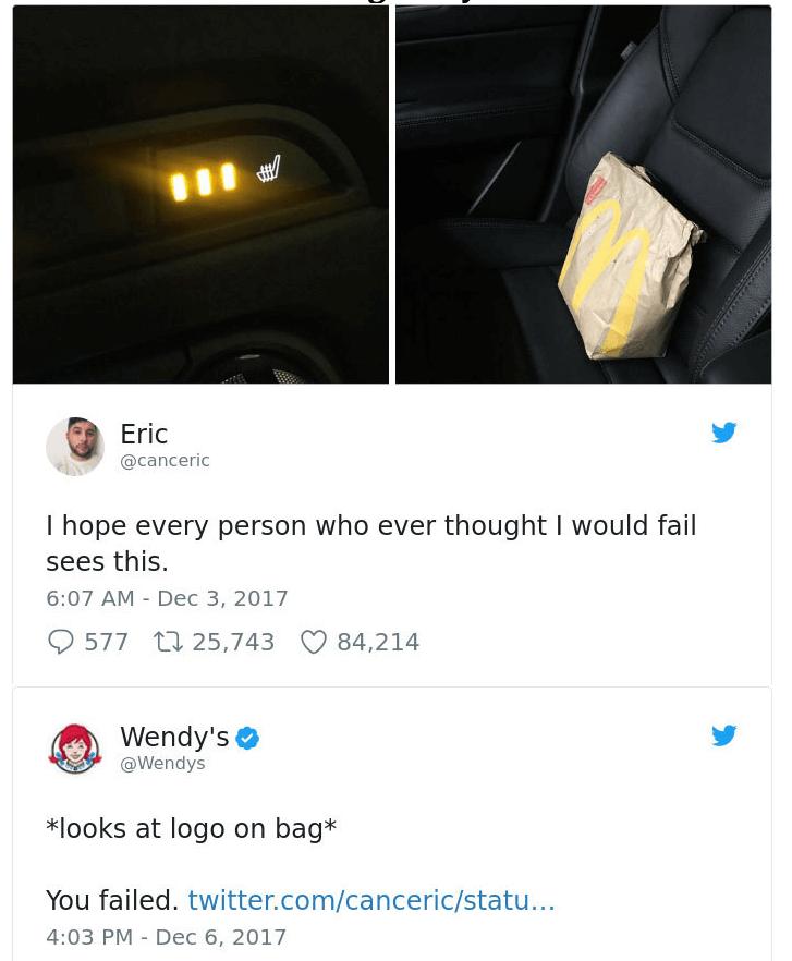 "Wendy's ""You Failed"" tweet"