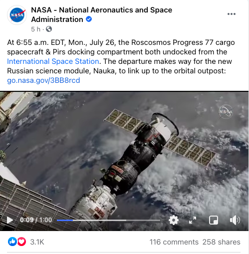 NASA Progress 77 Instagram post