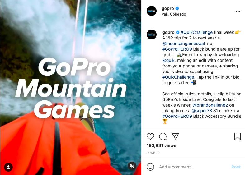 GoPro Mountain Games Instagram post