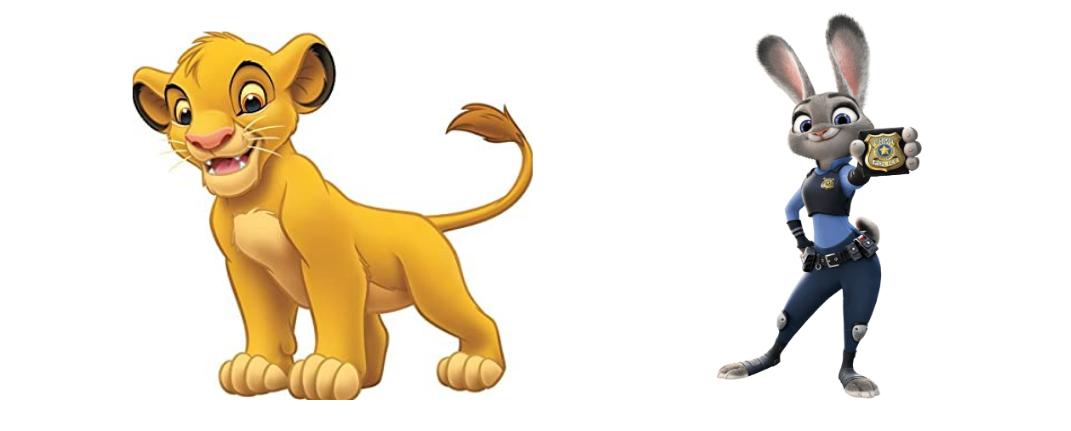 The Lion King's Simba and Zootopia's Lieutenant Judy Hopps