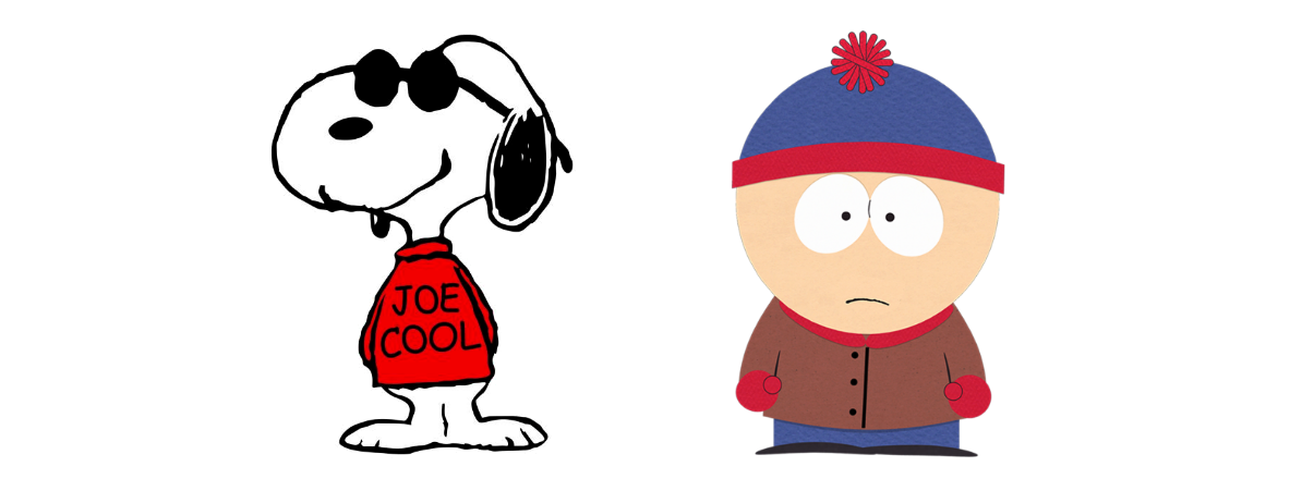 Snoopy as Joe Cool and South Park's Stan Marsh