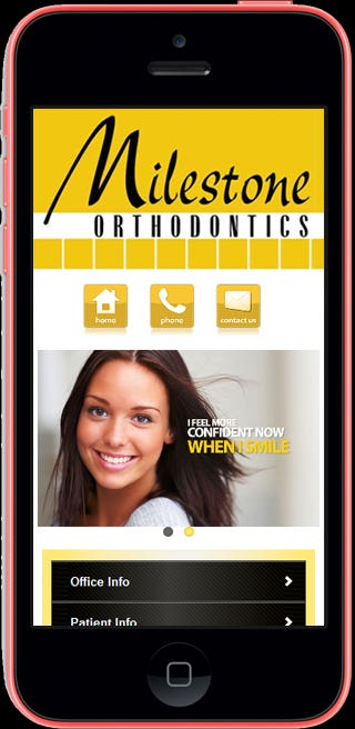 Website: http://m.milestoneorthodontics.com/  The site is  coded using HTML5 / CSS3 / jQuery Mobile / PHP. The mobile version is created with same look & feel as that of the main site and is coded using Jquery Mobile. The script is added to handle the mobile detection and redirection to the mobile website.