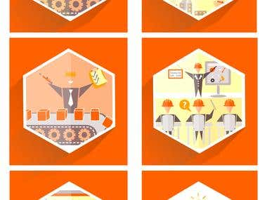 icons designed for a company to show various stages involved in planning and producing a product.