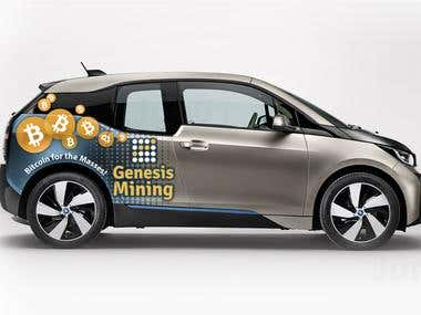 Design a Car Wrap Advertisement on the BMW i3 Vehicle
