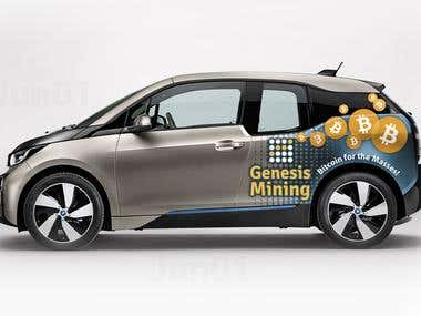 Design a Car Wrap Advertisement on the BMW i3 Vehicle képe