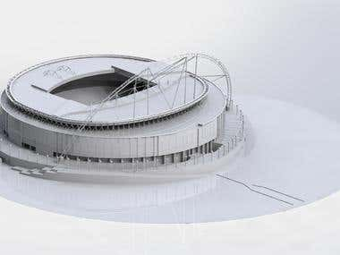 3D MODEL OF WEMBLEY STADIUM CREATED IN CAD SOFTWARE