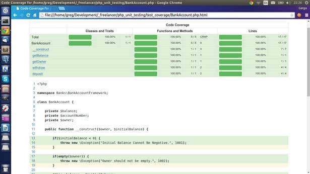 code coverage using phpunit