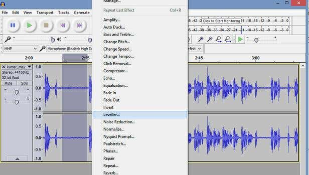 "Image of Audacity software showing location of ""Leveller"" function"