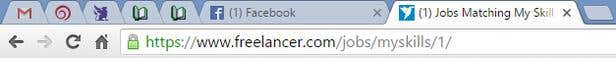 Screenshot showing favicons on Chrome browser