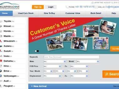 http://nbcjapan.com Its not only a website its business place. It exports used cars all over the word along with documents. Following steps are necessary for purchase a vehicle 1-Select Vehicle 2-Make conversation with business operator. 3-Final deal 4-Select nearest port 5-Generate invoice 6-Cash deposit 7- Recei vevehicle