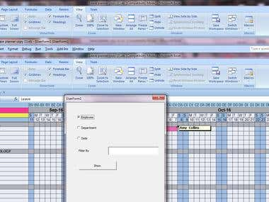 This is Data Filtering to the  Creating   options to select per department, per employee, per time frame  .excel leave planner with a innovative interface. To be used to store leave data of various departments.