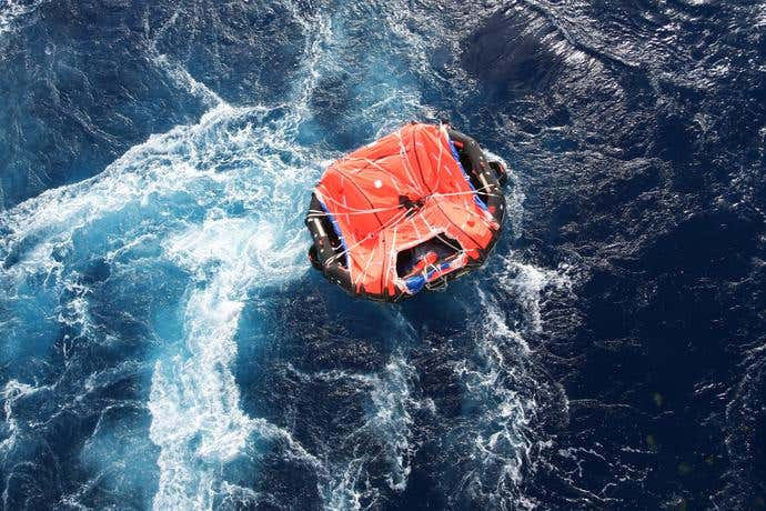 life raft lost at sea
