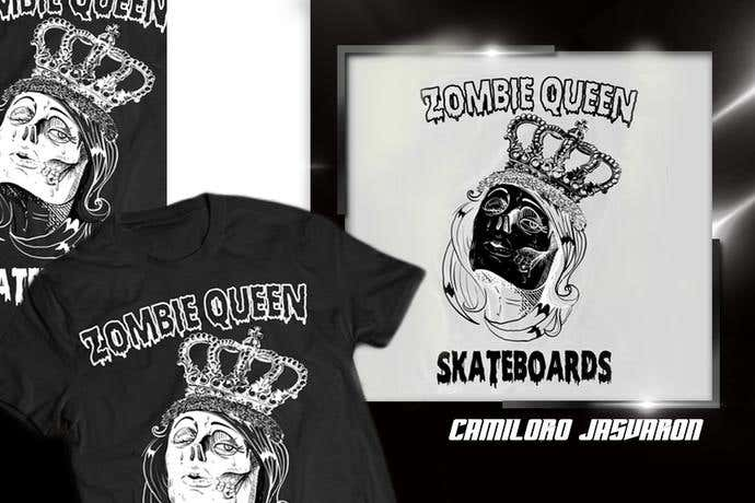 Zombie queen skateboard t-shirt design idea