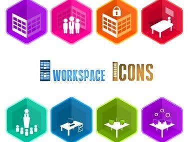 8 various Workspace iCONS by Mizadesigner