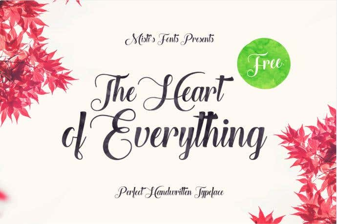 The Heart Of Everything free cursive font