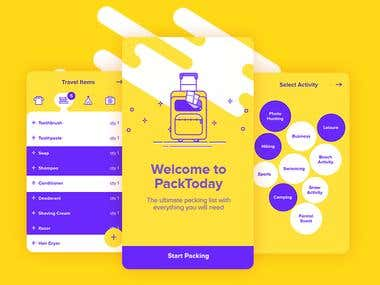 This is a project for a utility app providing a nifty packing checklist, among other tools, to help users organize and pack smart. This app is perfect for out of towns and travels of any kind.